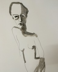 lifedrawing indian ink on cartridge 80 x 60 cm unframed $495