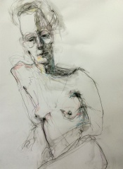 lifedrawing0420 conte charcoal and coloured pencils on paper 80 x 60 cm $495 unframed