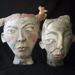 this is no picture - ceramic sculpture underglaze terrasigillato 40 cm (wall hanging or table sculpture)
