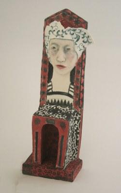 queen of her own domain - woman as chair series - ceramic sculpture 30cm h